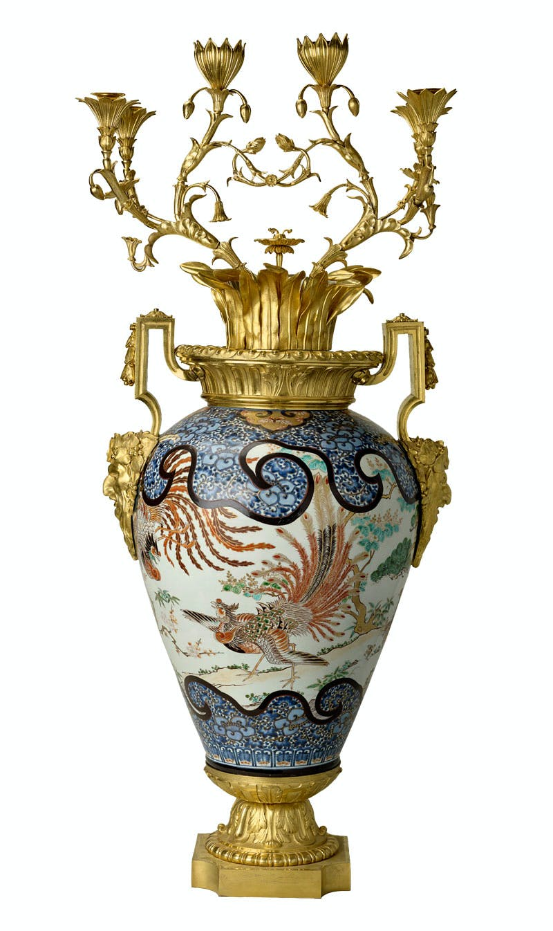 Jar mounted as six-branched candelabra (one of a pair), (1690–1730), Japanese (mount: third quarter 18th century, France, with later English additions). The Royal Collection