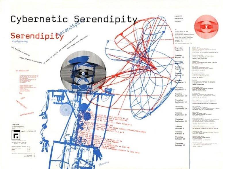 Poster advertising 'Cybernetic Serendipity' at ICA London, 2 August–20 October 1968