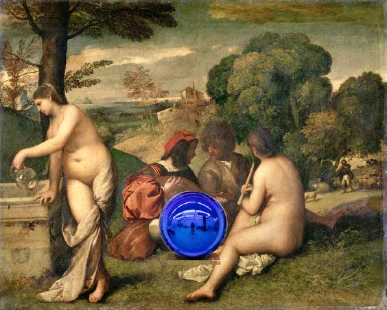 Gazing Ball (Titian Pastoral Concert) (detail; 2016), Jeff Koons. © Jeff Koons - Courtesy of the artist and Almine Rech Gallery