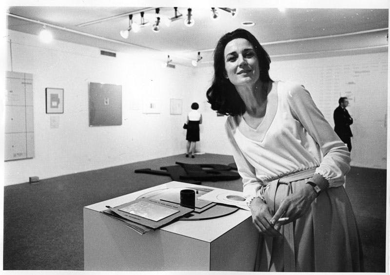 Virginia Dwan in her gallery during the exhibition 'Language III', Dwan Gallery, New York (May 1969). Courtesy Dwan Gallery Archive