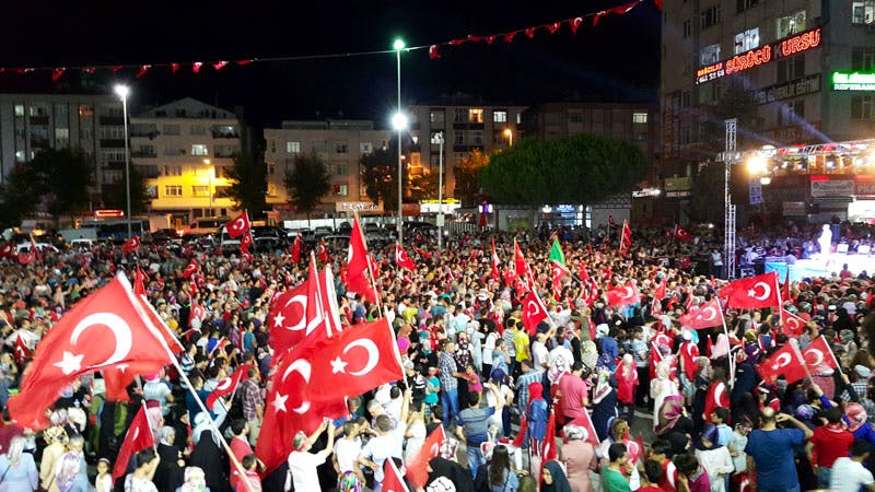 A pro-AKP rally in Istanbul, Turkey, after the failed coup attempt of 15 July 2016.