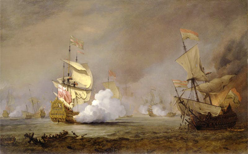 Sea Battle of the Anglo-Dutch Wars (detail; c. 1700), Willem van de Velde the Younger. Yale Center for British Art, Paul Mellon Collection