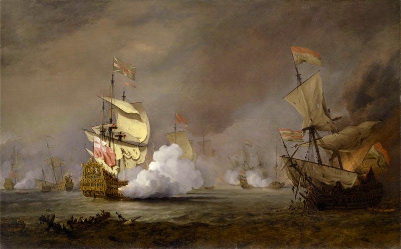 Sea Battle of the Anglo-Dutch Wars (detail; c. 1700), Willem van de Velde the Younger. Yale Center for British Art, Paul Mellon Collection