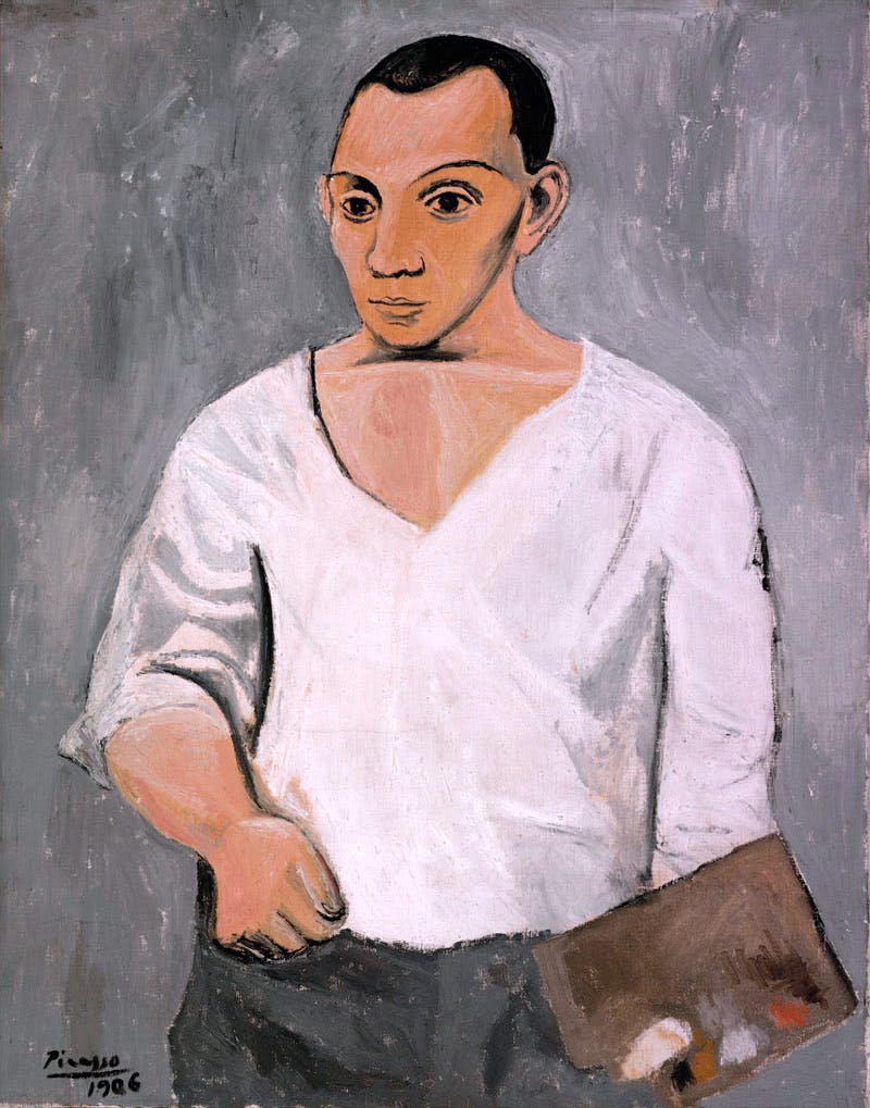 Self-Portrait with Palette by Pablo Picasso (1906), Pablo Picasso. © Succession Picasso/DACS, London 2016; Photograph and Digital Image Philadelphia Museum of Art © Estate of Pablo Picasso/Artists Rights Society (ARS) New York
