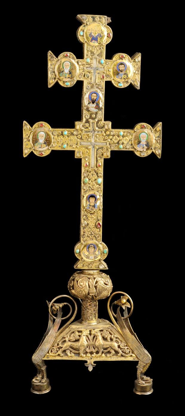 Reliquary cross of Jacques de Vitry, (c. 1160–80); cross: Acre, soon after 1216; base: Oignies, after 1228.