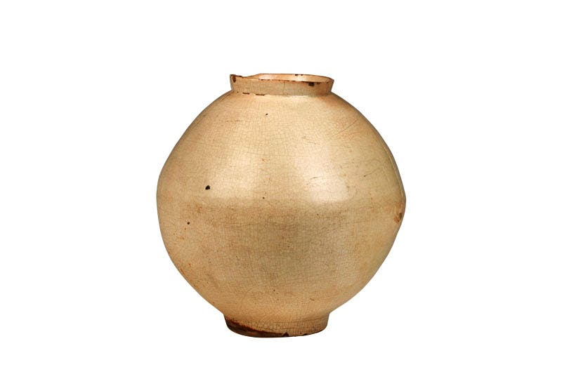 Moon jar (18th century; Korean, Joseon dynasty, 1392–1897). Han Collection, £65,000