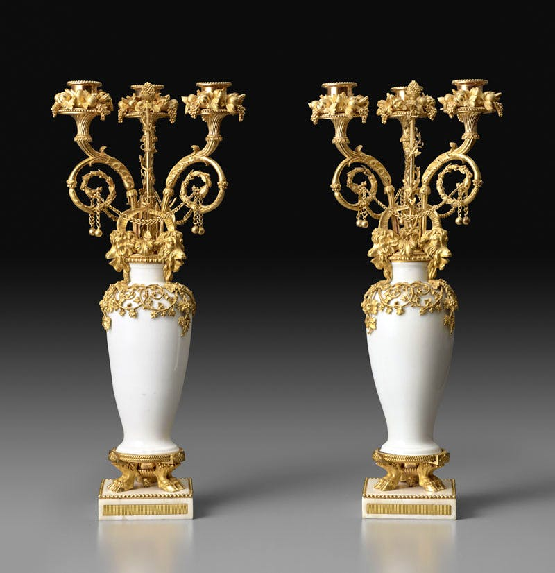 Pair of candelabra (1783), gilt bronze by Pierre Gouthière after a design by François-Joseph Bélanger. The Frick Collection, New York, gift of Sidney R. Knafel, 2016. Photo: Michael Bodycomb