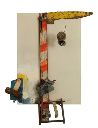 Aen Floga (1961), Robert Rauschenberg, Combine constructed of oil on canvas with wood, metal and wire. Robert Rauschenberg Foundation. © Robert Rauschenberg Foundation