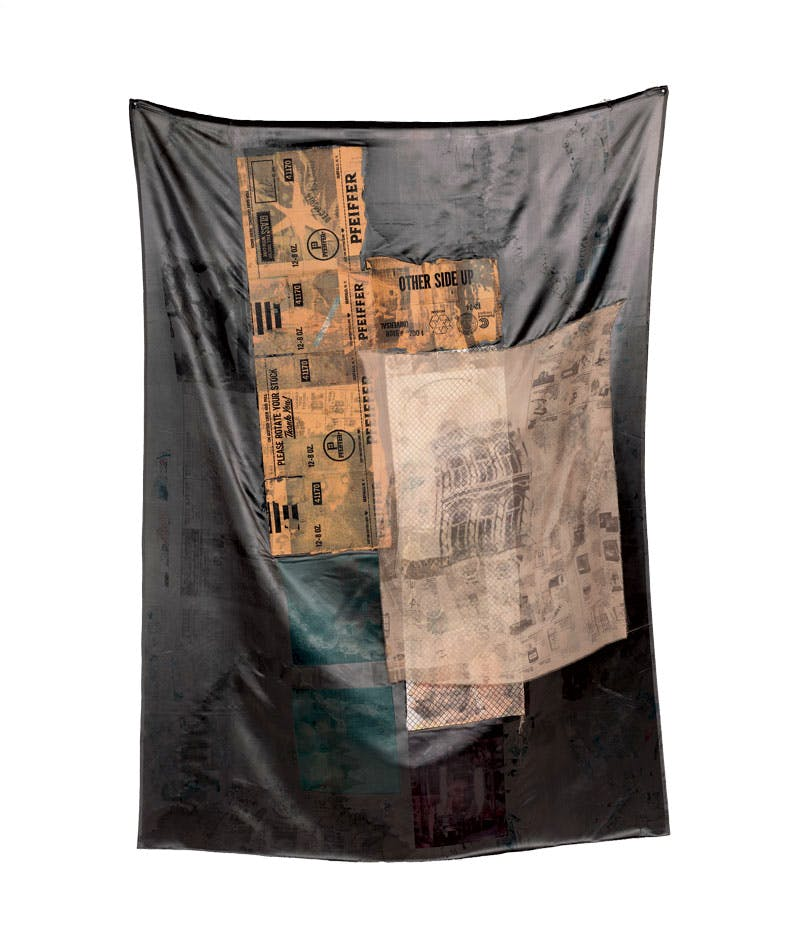 Untitled (Hoarfrost) (1975), Robert Rauschenberg, solvent transfer on fabric and cardboard. Private collection. © Robert Rauschenberg Foundation