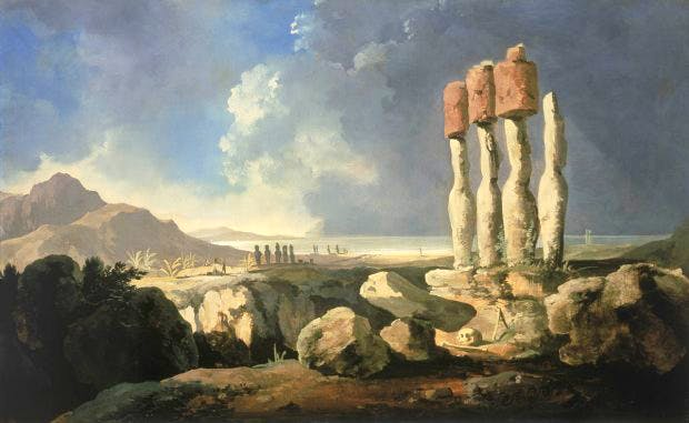 A View of the Monuments of Easter Island [Rapanui] (c. 1776), William Hodges. National Maritime Museum, London