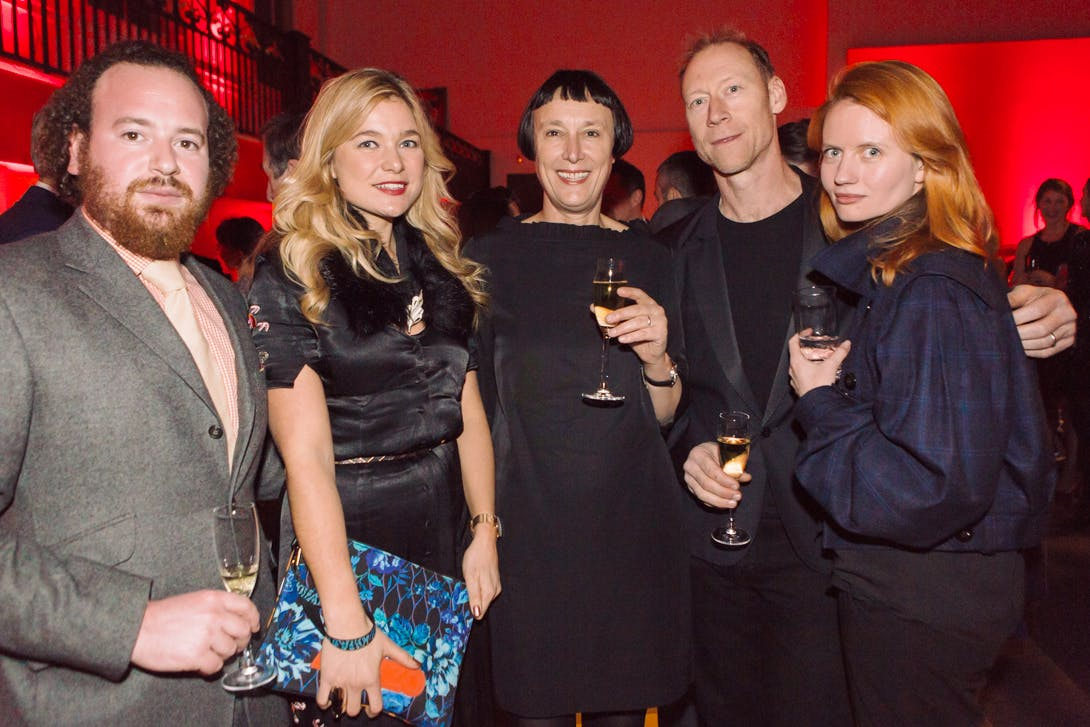 Ezra Konvitz, Kate Bryan, Cornelia Parker, Jeff McMillan and Megan Piper at the Apollo Awards 2016. Photo © Amy Scaife