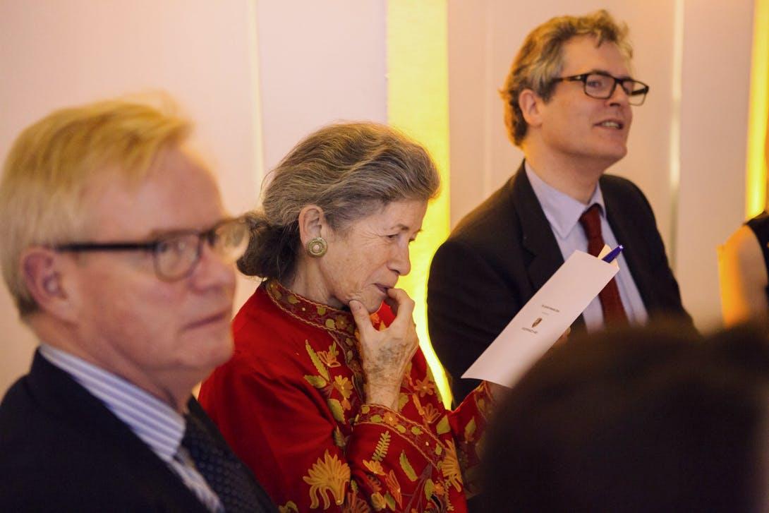 Christopher Rowell, Nina Lobanov-Rostovsky and Hugo Chapman at the Apollo Awards 2016. Photo © Amy Scaife