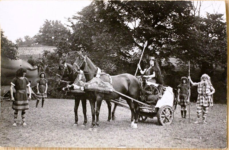 Boadicea in a postcard of the pageant. By permission of the St Edmundsbury Heritage Service