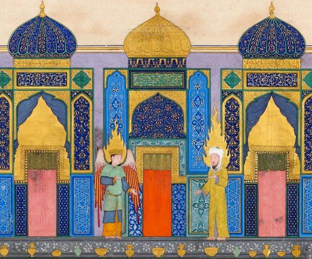 Miniature (detail) from a copy of al-Sarai's Nahj al-Faradis (The Paths of Paradise), Iran, Herat.