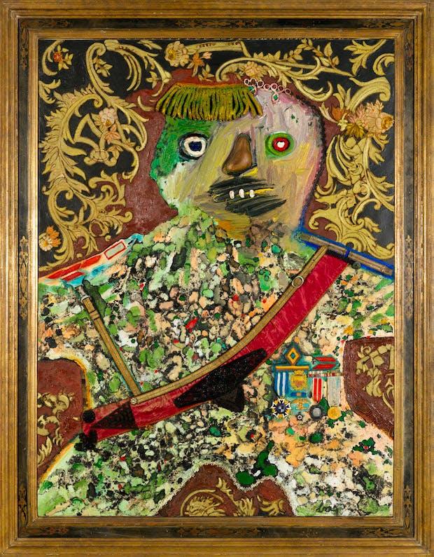 Le General Mechant et Decore (Angry General with Decorations), (1961), Enrico Baj.