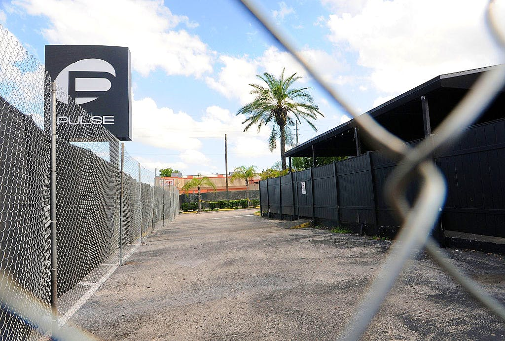 A view of the Pulse nightclub main entrance on 21 June, 2016 in Orlando, Florida. The Orlando community continues to mourn the victims of the deadly mass shooting at a gay nightclub. Photo by Gerardo Mora/Getty Images