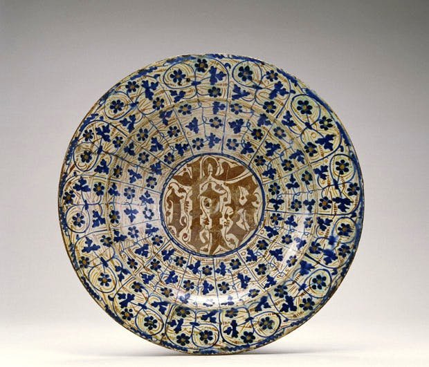 Hispano-Moresque dish with bryony leaf decoration and HIS Christogram