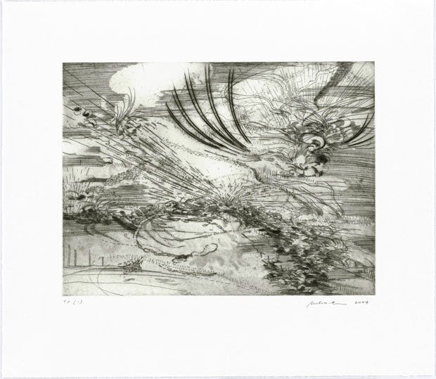 Plate 1 from the portfolio Landscape Allegories, © Julie Mehretu and Gemini G.E.L. Photo © Todd-White Art Photography Courtesy White Cube