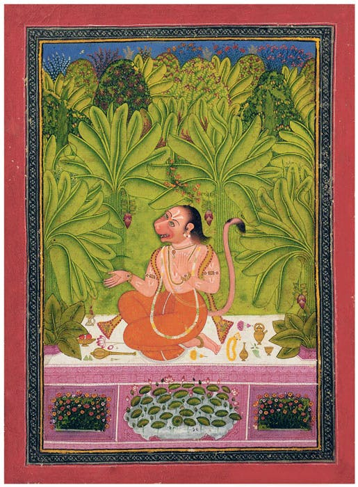 Hanuman Seated in a Banana Grove Humming a Song (1760–70), India, Rajasthan, Bindi.