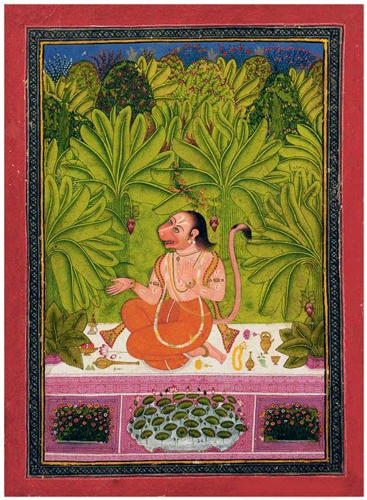 Hanuman Seated in a Banana Grove Humming a Song (1760–70), India, Rajasthan, Bindi.