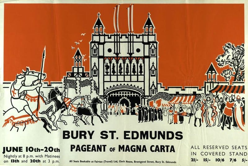 Poster advertising the Bury St Edmunds Pageant of Magna Carta, 1959. By kind permission of the Suffolk Record Office, Bury St Edmunds branch