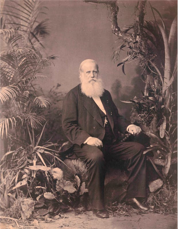 Pedro II of Brazil photographed by Joaquim Insley Pacheco (1830–1912) in 1883.