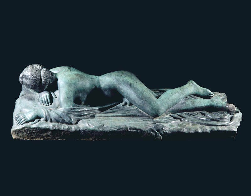 A bronze reclining figure of the Hermaphrodite (probably mid 17th century), Italy. Cast from the antique marble restored by Ippolito Buzzi in 1621-23. Christie's, estimate £200,000-300,000