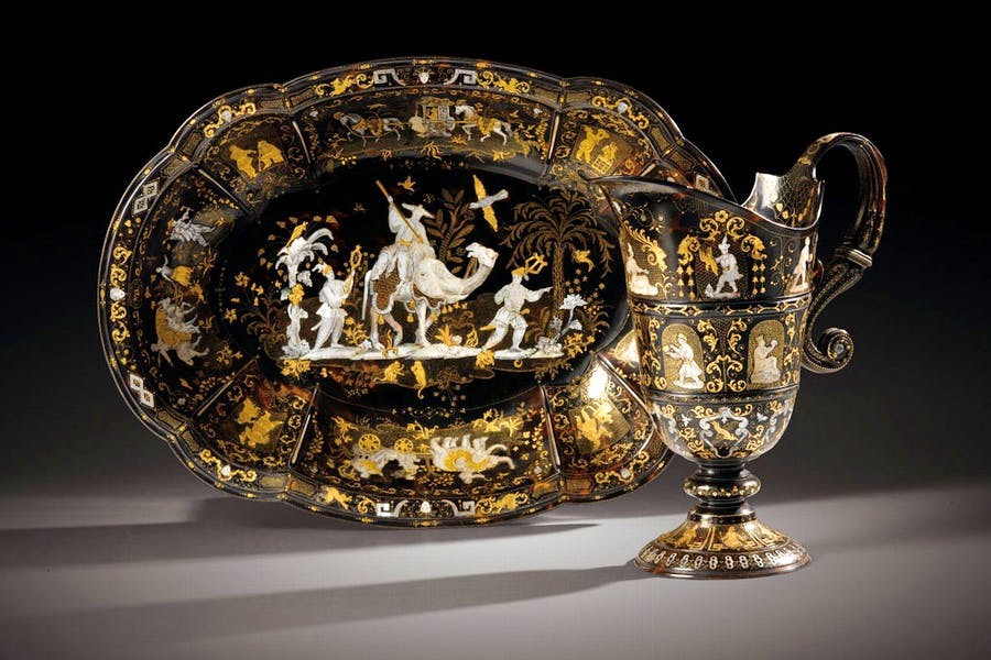 A tortoiseshell, mother-of-pearl and gold piqué rosewater ewer and basin (first half 18th century), Naples. Sotheby's: estimate €400,000–600,000