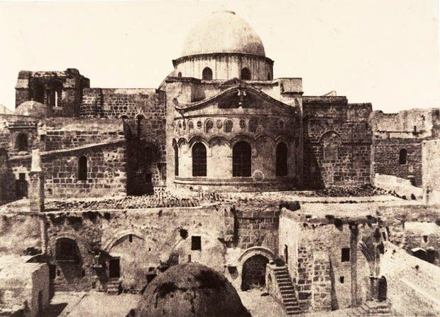 Jerusalem, Church of the Holy Sepulchre, Apse (1854), Auguste Salzmann.