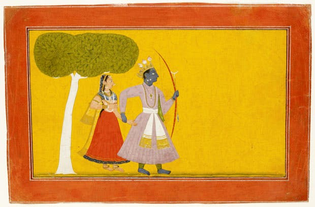 Rama's concerns for Sita Page from Bhanudatta's Rasamanjari (c. 1720), India; Jammu and Kashmir state. Victoria and Albert Museum