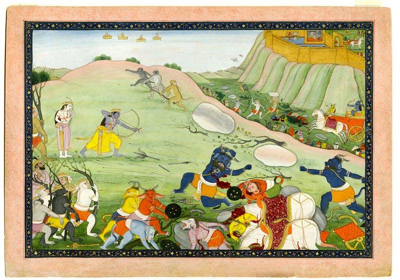 Rama kills the demon warrior Makaraksha in combat. From a manuscript of the Ramayana (c. 1790), India; Himachal Pradesh state, former kingdom of Guler. Photo © Asian Art Museum of San Francisco