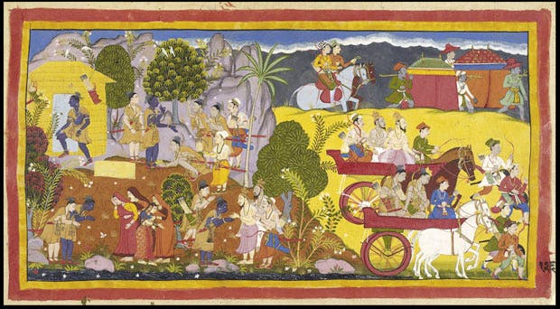 Rama refuses his brother Bharata's entreaties to return. Page from the Mewar Ramayana (1649–53), Sahibdin. The British Library. Photograph © Asian Art Museum of San Francisco