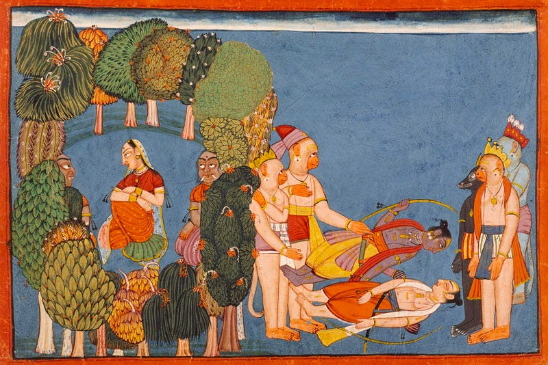 Sita in the forest grove (left); Rama and Lakshmana stricken (right) Folio from the 'Shangri' Ramayana (c. 1700–10). India; Bahu, Jammu and Kashmir. Los Angeles County Museum of Art