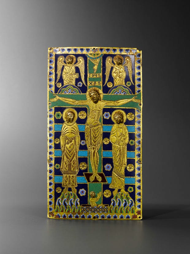 Book Cover, Limoges, champlevé enamel on copper, engraved and gilt