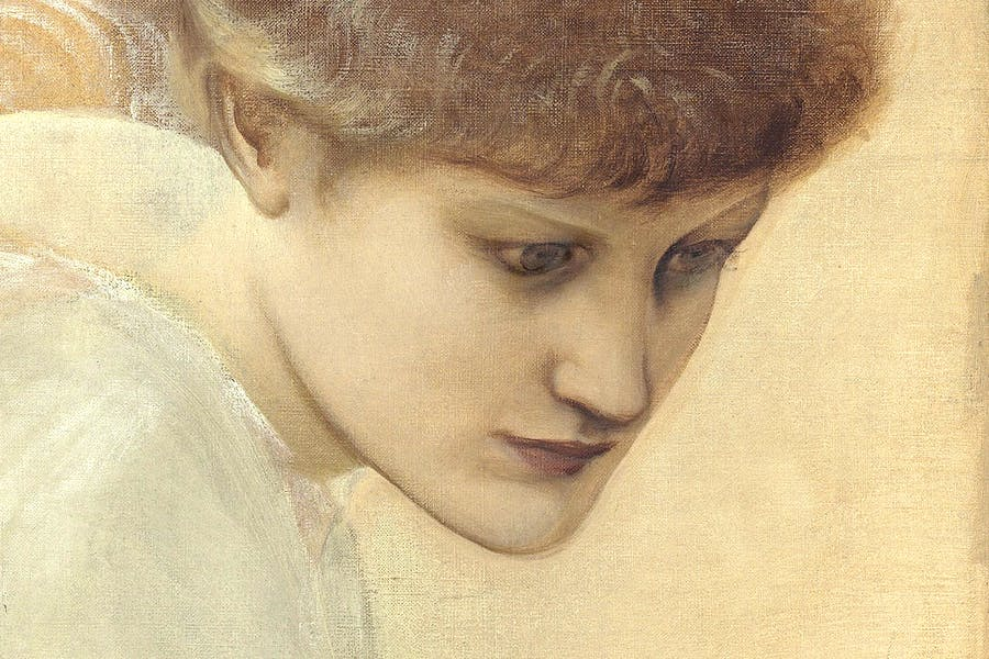 Head study of Dorothy Dene looking downwards, for 'The Golden Stairs', by Sir Edward Coley Burne-Jones © Christie's Images Limited 2016 (detail)