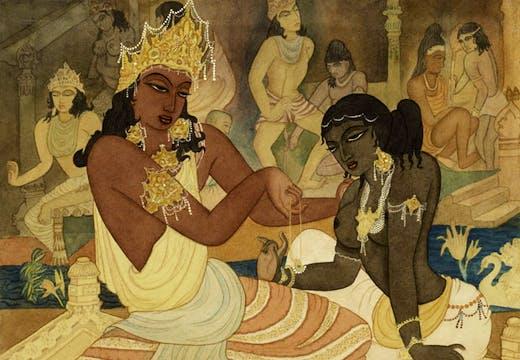 Carudatta Presenting a Pearl Necklace to Vasantesena, (c. 1952), Y. G. Srimati.