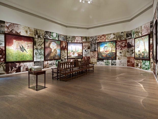 On Form and Fiction (1990), Steven Campbell. Installation view: 'GENERATION: 25 Years of Contemporary Art in Scotland', at the Scottish National Gallery, 2014. Photo: John McKenzie