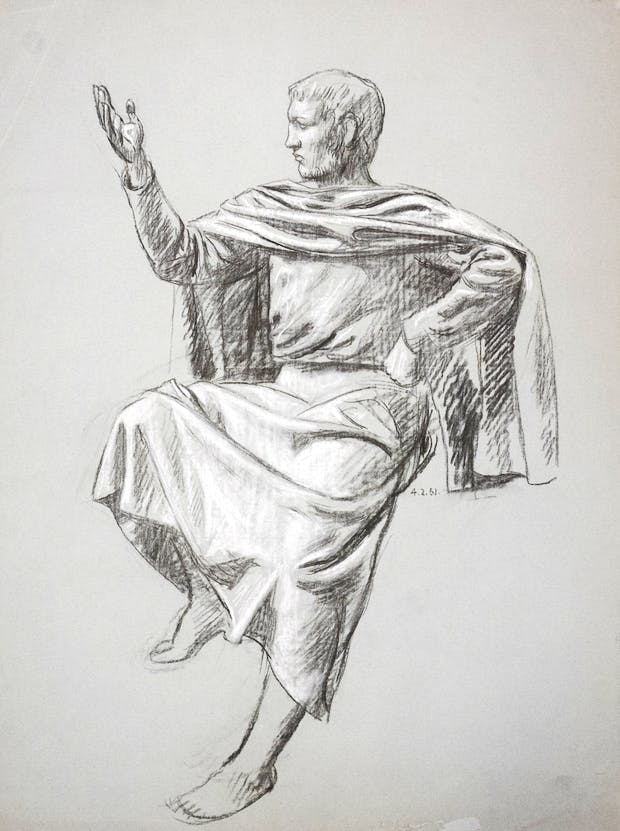 Untitled Figure Study (Seated male figure with arm raised) (1961), Hans Feibusch. © By Permission of The Werthwhile Foundation