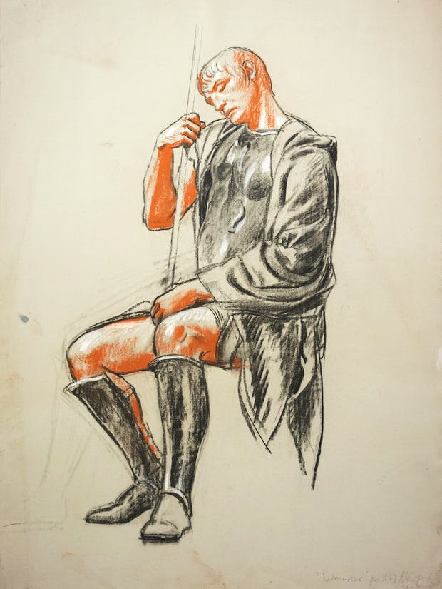Warrior (Preparatory Study for Newport Civic Centre Mural) (c.1964), Hans Feibusch. © By Permission of The Werthwhile Foundation