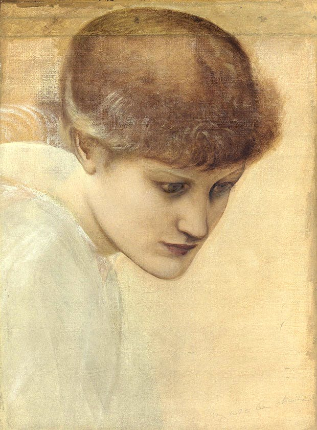Head study of Dorothy Dene looking downwards, for 'The Golden Stairs', by Sir Edward Coley Burne-Jones © Christie's Images Limited 2016