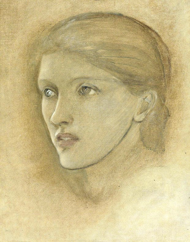 Female head study, looking to the right, for 'The Golden Stairs', possibly Mary Stuart Wortley, later Countess Lovelace © Christie's Images Limited 2016
