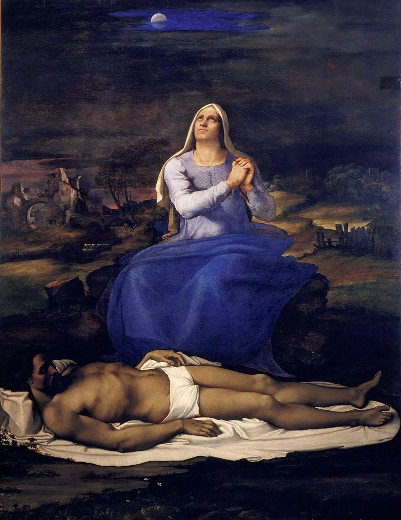 Lamentation over the Dead Christ ('Pietà') (c. 1512–16), Sebastiano del Piombo. Museo Civico, Viterbo