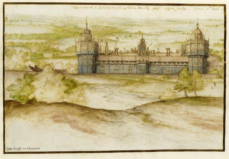 Nonsuch Palace (1568), Joris Hoefnagel. © Victoria and Albert Museum, London
