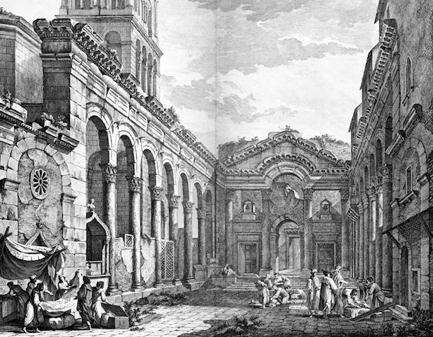 Charles-Louise Clérisseau's view of the peristyle of Diocletian's Palace, Split (1764).