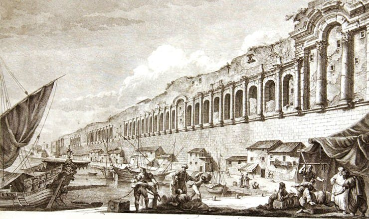 The seafront of Diocletian's Palace, as depicted by Charles-Louis Clérisseau (published 1764)