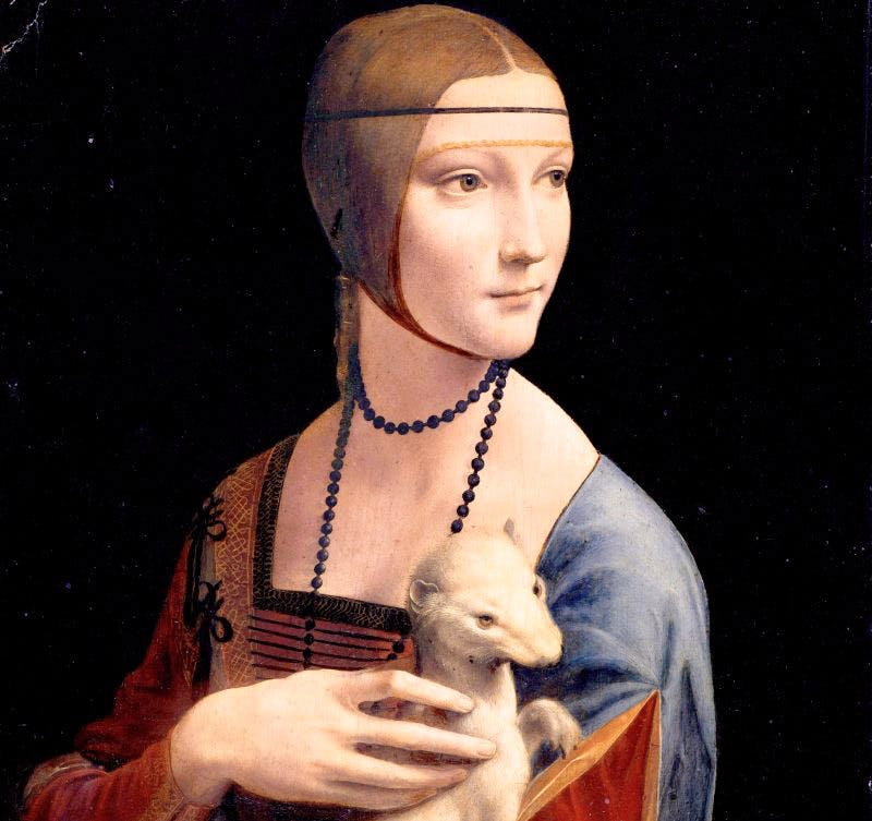 Lady with an Ermine [detail] (c.1489-90), Leonardo da Vinci. Wikimedia Commons