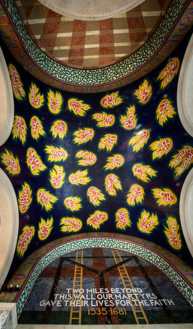 Ceiling of the Chapel of St George and the English Martyrs, Westminster Cathedral. designed by Tom Phillips and dedicated in 2016.