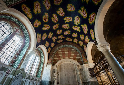 Ceiling of the Chapel of St George and the English Martyrs, Westminster Cathedral, designed by Tom Phillips and dedicated in 2016.
