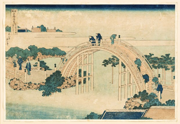 The Drum Bridge at Kameido Tenjin Shrine (c. 1827–1834), Katsushika Hokusai. © William Morris Gallery, London Borough of Waltham Forest