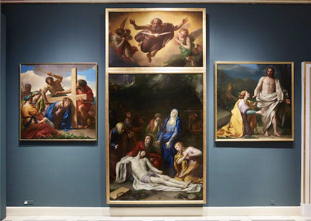 Installation view of Mengs' cycle of the Passion at the Royal Palace of Madrid.